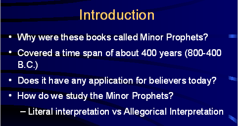 Intro to Study of Minor Prophets