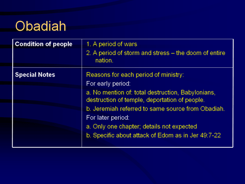 Obadiah - Conditions of People