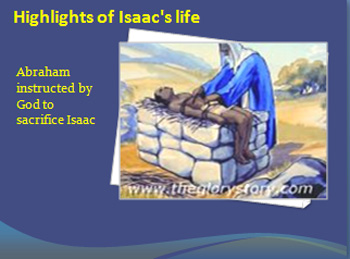 Abraham instructed by God to sacrifice Isaac