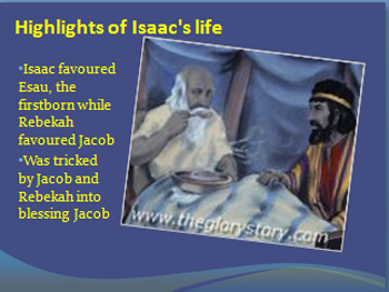 Isaac favoured Esau, the firstborn while Rebekah favoured Jacob,
