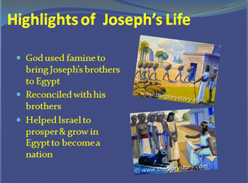 God used famine to bring Joseph's brothers  to Egypt & Reconciled with his brothers