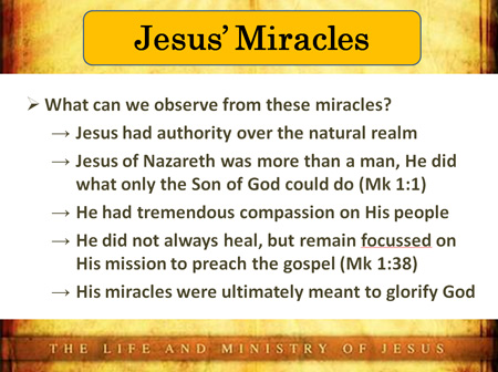 What can we observe from these miracles