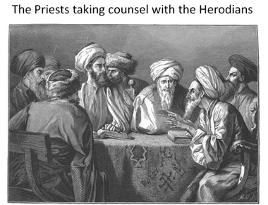 Priest taking counsel with the Herodians