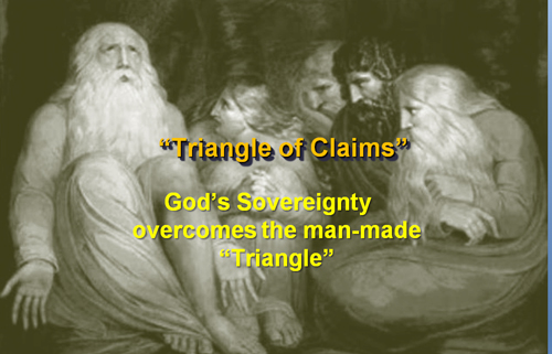 God overcomes the triangle of claims